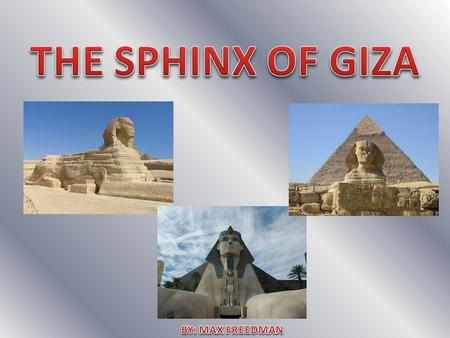 My structure is the Sphinx. The Sphinx was built from 2558 BCE to 2532 BCE. It was built during the reign of Pharaoh Khafra. To this date the Sphinx is.