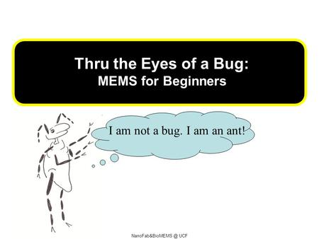 UCF Thru the Eyes of a Bug: MEMS for Beginners I am not a bug. I am an ant!