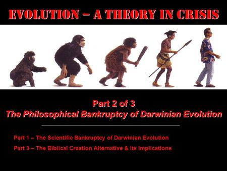 Evolution – a Theory in Crisis Part 2 of 3 The Philosophical Bankruptcy of Darwinian Evolution Part 1 – The Scientific Bankruptcy of Darwinian Evolution.