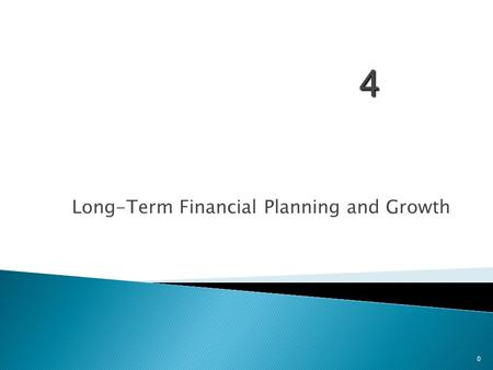 4 Long-Term Financial Planning and Growth 0. 1. Understand the financial planning process and how decisions are interrelated 2. Be able to develop a financial.
