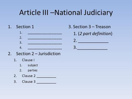 Article III –National Judiciary