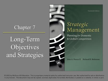 Long-Term Objectives and Strategies