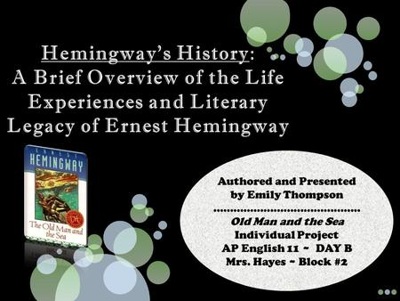an introduction to the life and history of ernest miller hemingway Ernest hemingway facts: ernest miller hemingway ernest hemingway was a legend in his own life-time— in a sense biography ernest hemingway facts who, when hemingway decided to return to europe, gave him letters of introduction to expatriates gertrude stein and ezra.