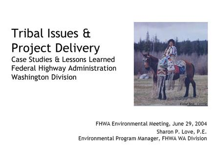Tribal Issues & Project Delivery Case Studies & Lessons Learned Federal Highway Administration Washington Division FHWA Environmental Meeting, June 29,
