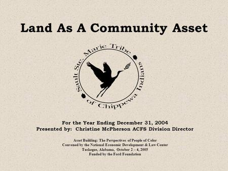 Land As A Community Asset For the Year Ending December 31, 2004 Presented by: Christine McPherson ACFS Division Director Asset Building: The Perspectives.