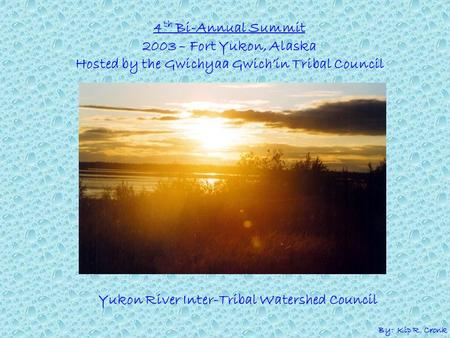 4 th Bi-Annual Summit 2003 – Fort Yukon, Alaska Hosted by the Gwichyaa Gwich'in Tribal Council Yukon River Inter-Tribal Watershed Council By: Kip R. Cronk.