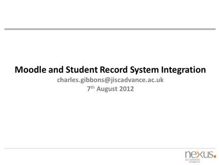 Moodle and Student Record System Integration charles