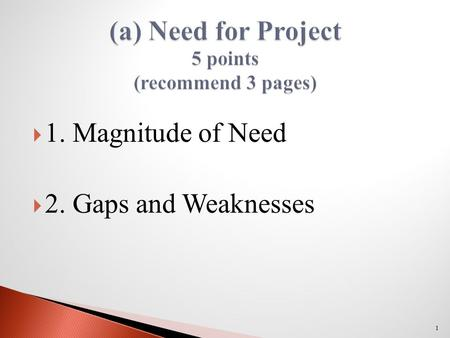  1. Magnitude of Need  2. Gaps and Weaknesses 1.