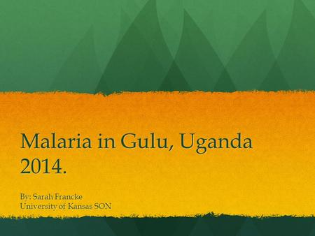 Malaria in Gulu, Uganda 2014. By: Sarah Francke University of Kansas SON.