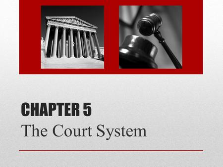 Chapter 5 The Court System.