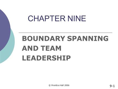 BOUNDARY SPANNING AND TEAM LEADERSHIP