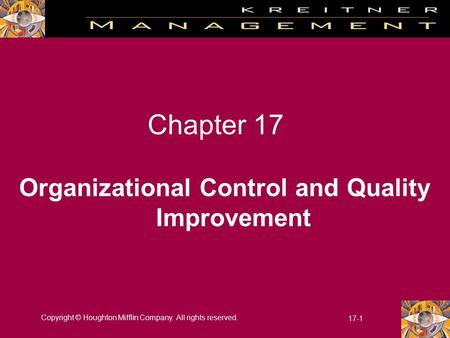 Organizational Control and Quality Improvement