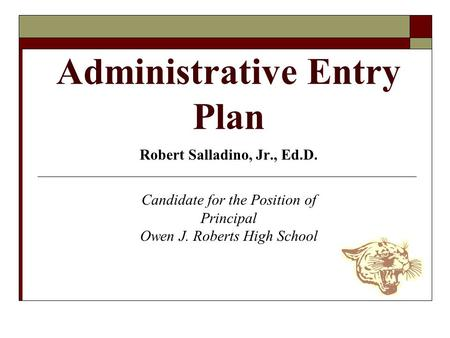 Administrative Entry Plan