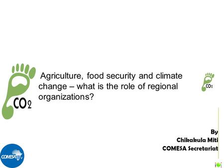 By Chikakula Miti COMESA Secretariat Agriculture, food security and climate change – what is the role of regional organizations?