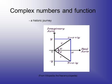 Complex numbers and function - a historic journey (From Wikipedia, the free encyclopedia)