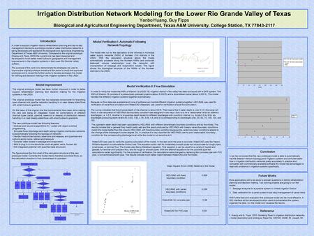 Irrigation Distribution Network Modeling for the Lower Rio Grande Valley of Texas Yanbo Huang, Guy Fipps Biological and Agricultural Engineering Department,