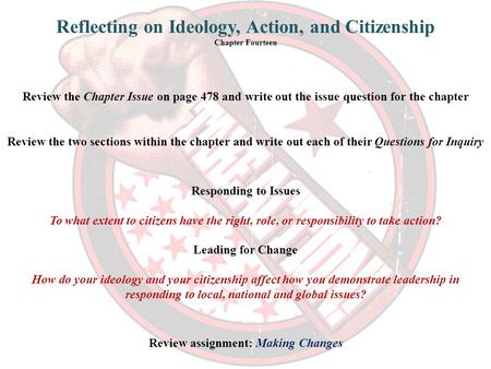Review the Chapter Issue on page 478 and write out the issue question for the chapter Reflecting on Ideology, Action, and Citizenship Chapter Fourteen.