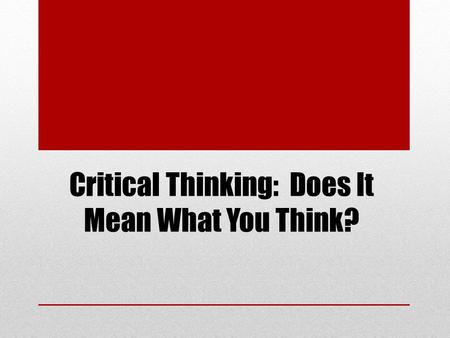 Critical Thinking: Does It Mean What You Think?. On Conjugation of Cyclically-Generated Banach Spaces.