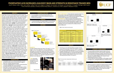 TEMPLATE DESIGN © 2008 www.PosterPresentations.com PHOSPHATIDIC ACID INCREASES LEAN BODY MASS AND STRENGTH IN RESISTANCE TRAINED MEN David R. Williams.