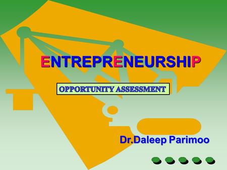 Dr.Daleep Parimoo ENTREPRENEURSHIP. Part of setting a business will involve identifying opportunities in the market on which a particular idea, product,