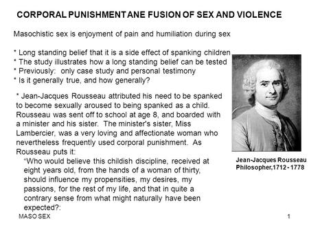 CORPORAL PUNISHMENT ANE FUSION OF SEX AND VIOLENCE