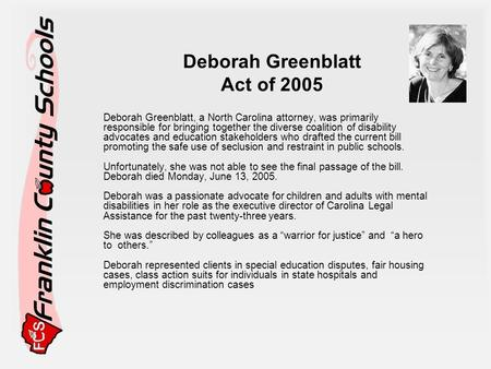 Deborah Greenblatt Act of 2005