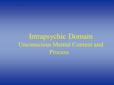 Intrapsychic Domain Unconscious Mental Content and Process.