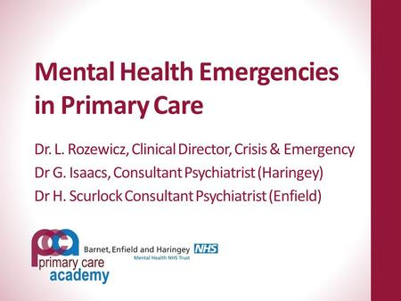 Mental Health Emergencies in Primary Care