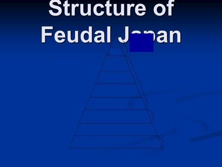Structure of Feudal Japan. EMPEROR Emperor Emperor and imperial family highest on social ladder Religious leader Direct descendant of Amaturasu Omikami.