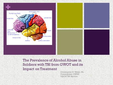 + The Prevalence of Alcohol Abuse in Soldiers with TBI from GWOT and its Impact on Treatment Christopher R. Walsh, PA. Commander, USPHS MACH TBI Service.
