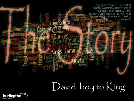 David: boy to King Copyright © Simon G. Harris 2011 Scripture quotations taken from the HOLY BIBLE, NEW INTERNATIONAL VERSION. Copyright © 1973, 1978,