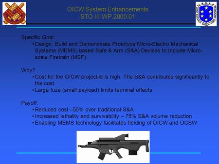 OICW System Enhancements STO III.WP.2000.01 Specific Goal: Design, Build and Demonstrate Prototype Micro-Electro Mechanical Systems (MEMS) based Safe &