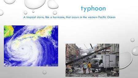 Typhoon A tropical storm, like a hurricane, that occurs in the western Pacific Ocean.