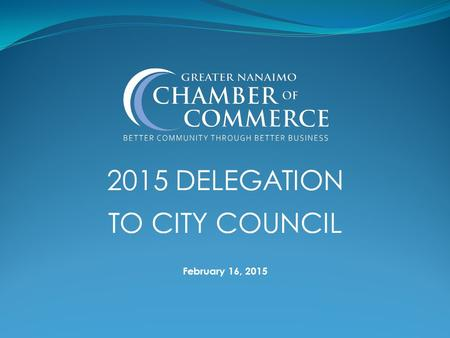 2015 DELEGATION TO CITY COUNCIL February 16, 2015.