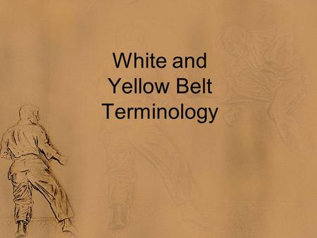 White and Yellow Belt Terminology. Instructions Each word will appear at the top of the slide. After 5 seconds, the definition will appear below (Hint: