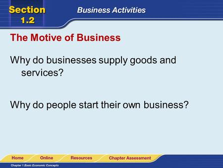 The Motive of Business Why do businesses supply goods and services? Why do people start their own business?