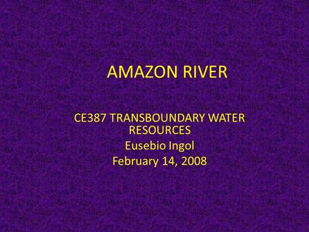 AMAZON RIVER CE387 TRANSBOUNDARY WATER RESOURCES Eusebio Ingol February 14, 2008.