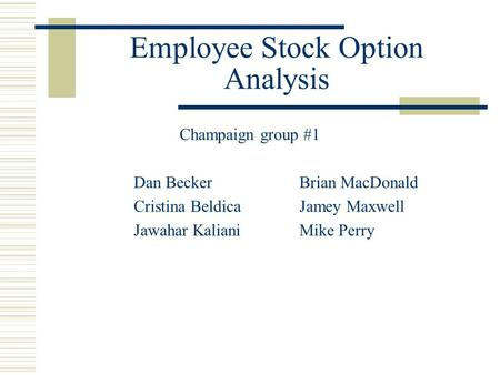 Employee Stock Option Analysis Champaign group #1 Dan BeckerBrian MacDonald Cristina BeldicaJamey Maxwell Jawahar KalianiMike Perry.