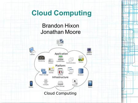 Cloud Computing Brandon Hixon Jonathan Moore. Cloud Computing Brandon Hixon What is Cloud Computing? How does it work? Jonathan Moore What are the key.