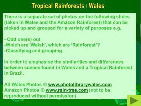 There is a separate set of photos on the following slides (taken in Wales and the Amazon Rainforest) that can be picked up and grouped for a variety of.