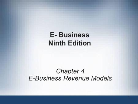 E- Business Ninth Edition