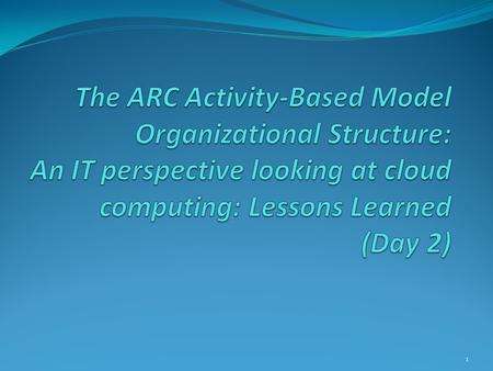 1. Topics Is Cloud Computing the way to go? ARC ABM Review Configuration Basics Setting up the ARC Cloud-Based ABM Hardware Configuration Software Configuration.