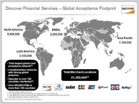 ©2012 DFS Services LLC Confidential & Proprietary Discover Financial Services – Global Acceptance Footprint Third largest global card acceptance network.