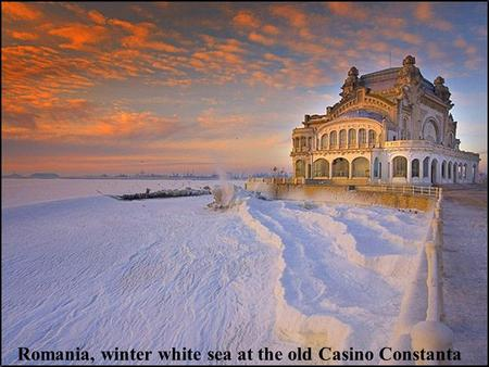 Romania, winter white sea at the old Casino Constanta.
