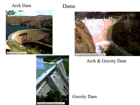 Dams Arch Dam Gravity Dam Arch & Gravity Dam. Dams (cont.) Hydrostatic forces Energy conversion Bernoulli equation Turbine Hydrostatic uplift.