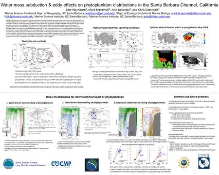 46054 11 m/s Water mass subduction & eddy effects on phytoplankton distributions in the Santa Barbara Channel, California Libe Washburn 1, Mark Brzezinski.