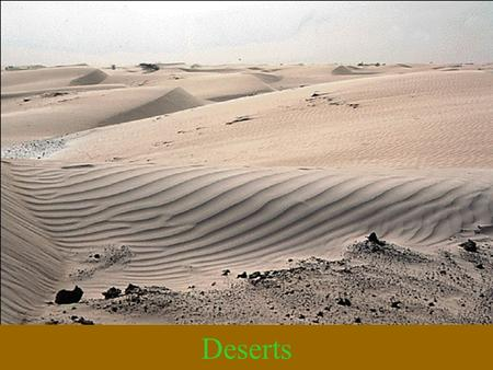 Deserts. Dry places that have a dry climate-the yearly precipitation is less than the evaporation loss Dry regions cover 30% of the Earth's surface Concentrated.