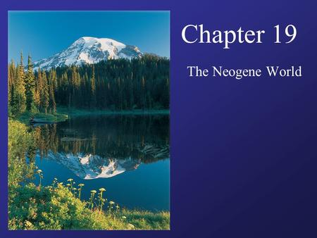 Chapter 19 The Neogene World. Guiding Questions How did marine life of Neogene time differ from that of Paelogene time? What happened to grasses and grasslands.