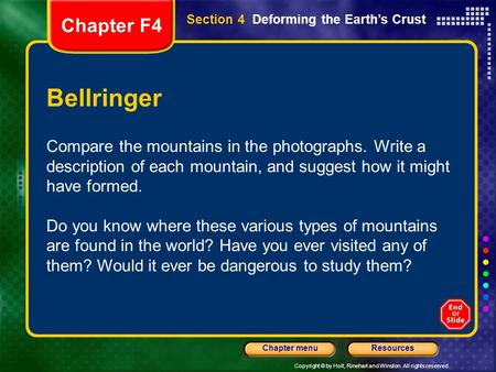 Chapter F4 Section 4  Deforming the Earth's Crust Bellringer