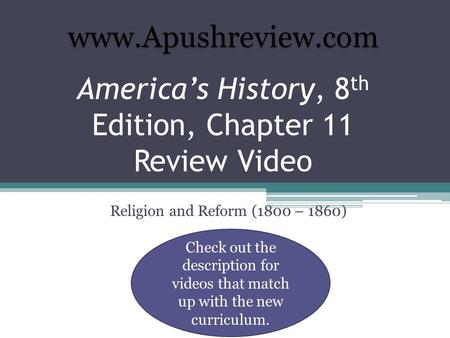 America's History, 8th Edition, Chapter 11 Review Video
